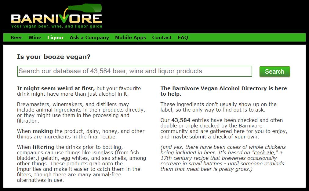 screenshot of barnivore website