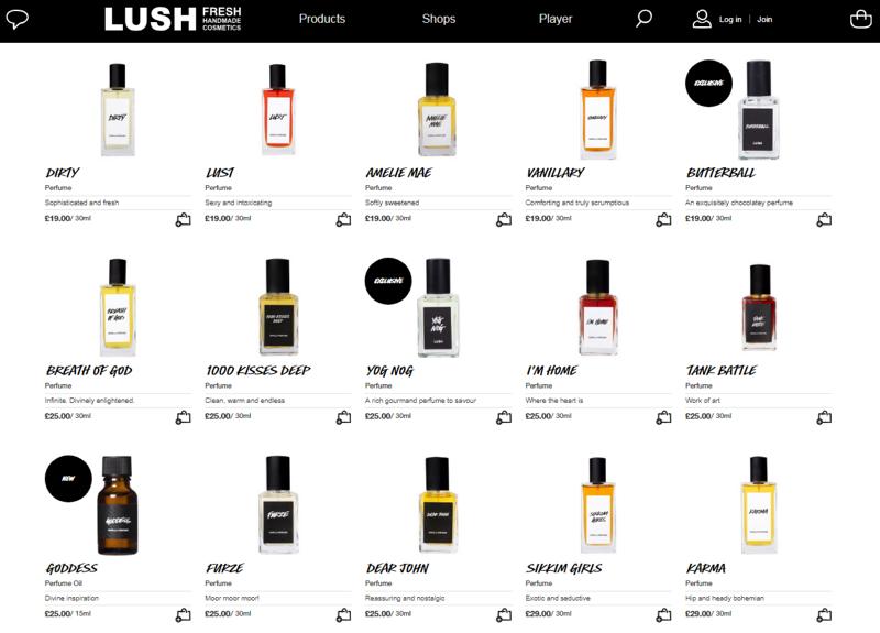 lush website perfumes