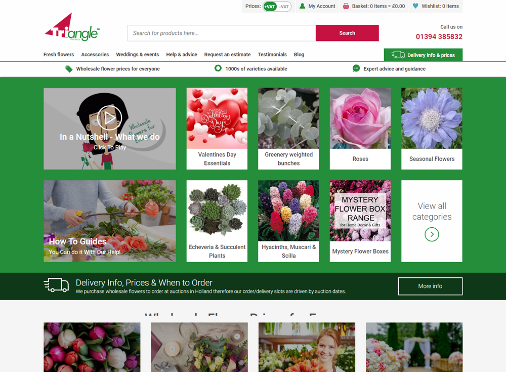 screenshot of triangle nursery's website