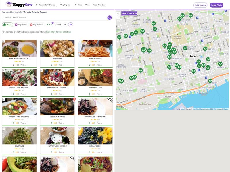 screenshot of HappyCow website showing vegan websites, zoomed in on Toronto
