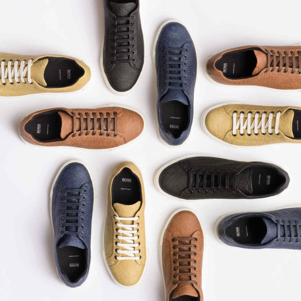 Boss Piñatex sneakers, made from pineapple fibres. Shown in 4 colours