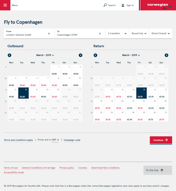 screenshot norwegian flight fare calendar