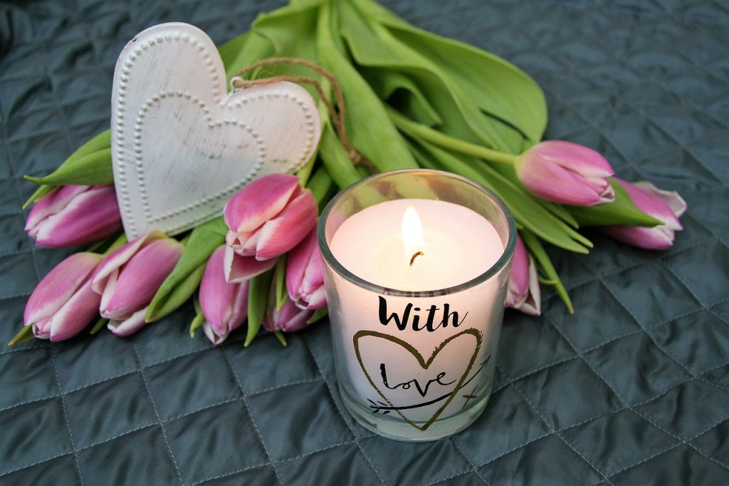 candle, tulips and heart