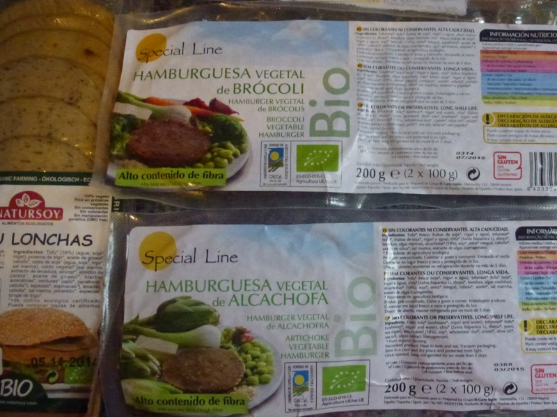 labels from vegan foods from spain