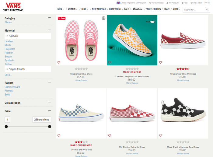 Screenshot of Vans website showing vegan friendly filter on shoes