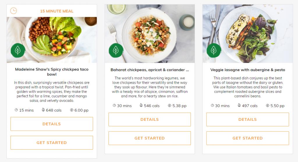 Screenshot of Mindful Chef vegan dishes