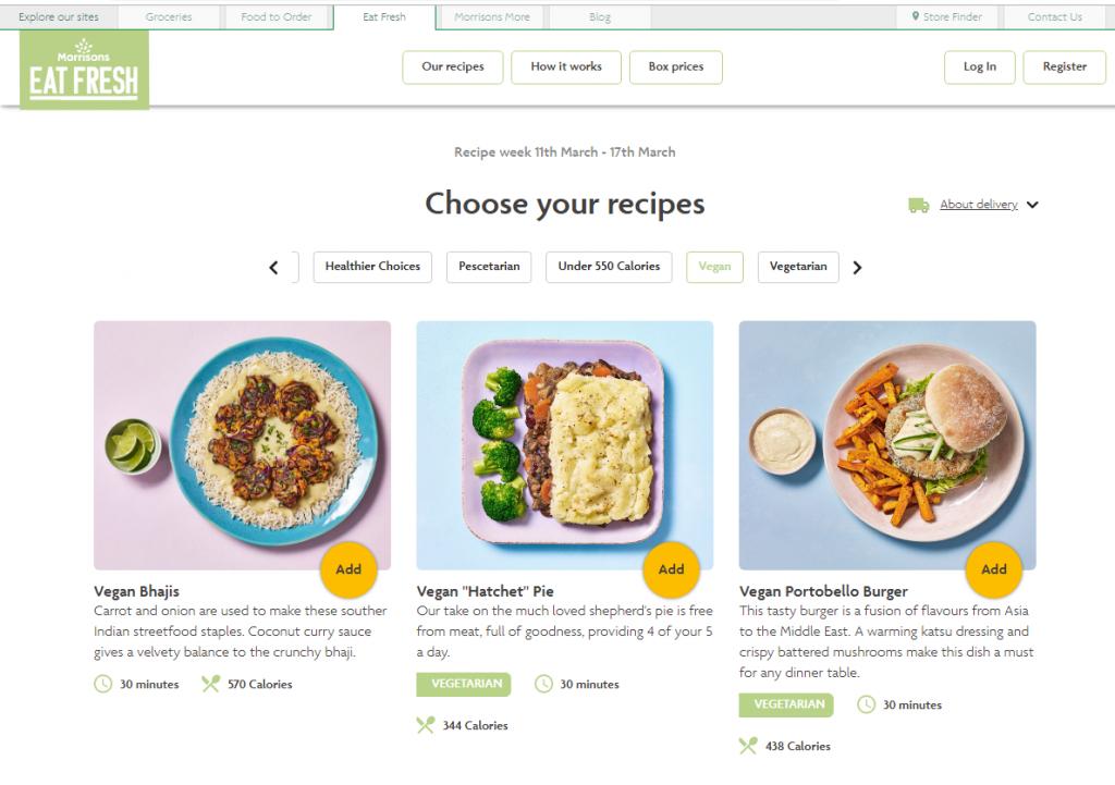 screenshot of Morrisons Eat Fresh recipe boxes