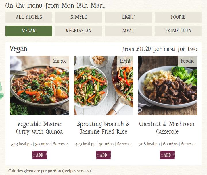 screenshot of Riverford's website showing vegan meal options