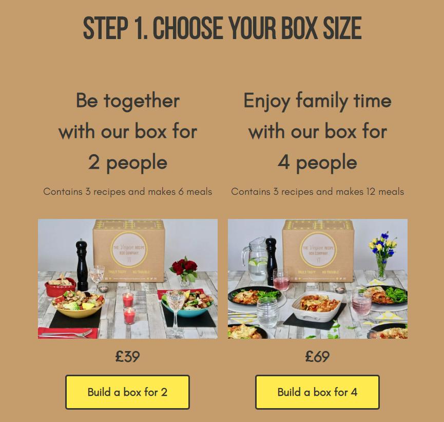 screenshot of The Vegan Recipe Box Company showing the box options